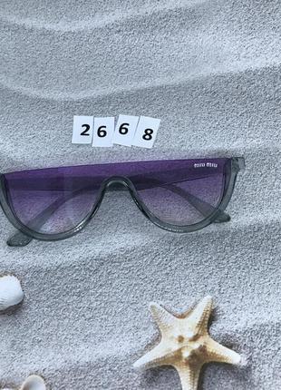 Модные фиолетовые очки в серой оправе к. 2668