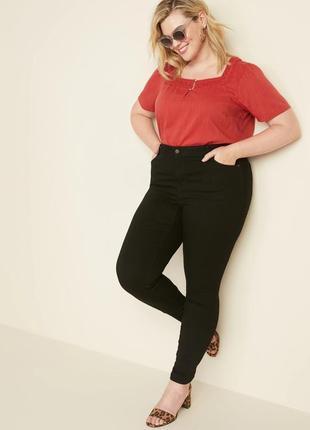 Черные плотные джинсы брюки штаны супер стрейч высокая талия п...