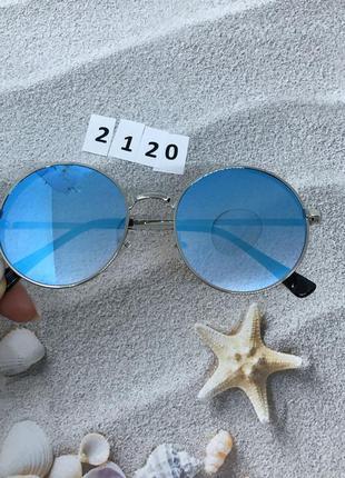 """Очки солнцезащитные синие линзы """"кругляшки""""  к.2120"""