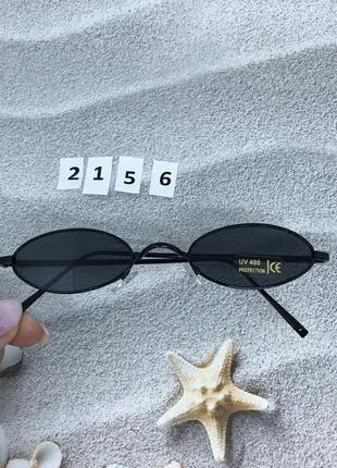 Узкие солнцезащитные очки с черными линзами  к. 2156