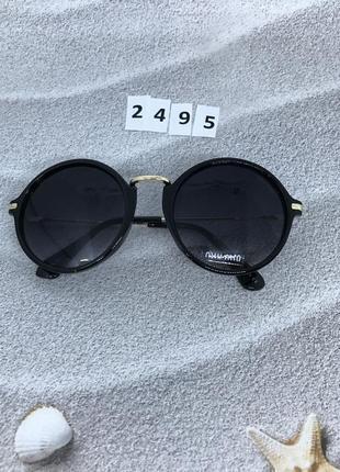 Модные круглые очки с черными линзами к. 2495
