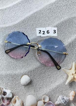 Трендовые круглые солнцезащитные очки розово - голубые к. 2263