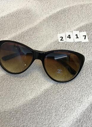 Коричневые солнцезащитные очки  с молочной оправой к.2417