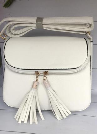 Стильная белая женская сумочка cross body к.6315