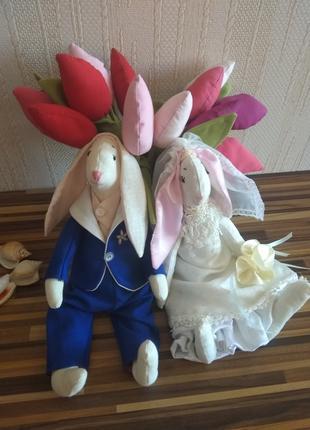 Свадебные зайцы тильда, подарок на свадьбу зайцы