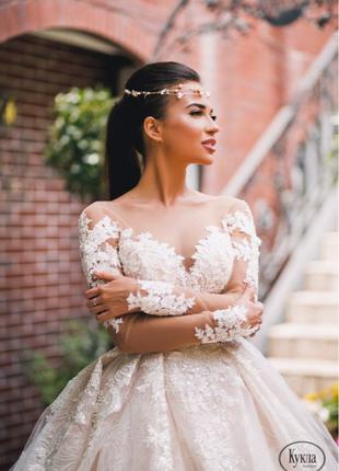 Шикарное свадебное платье со шлейфом. Бренда Royaldi  модель Rose