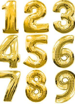 Фольгированный надувной шар цифра золото