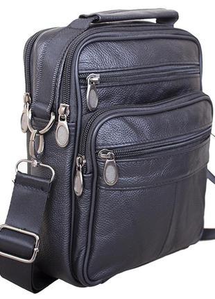 Кожаная мужская сумка через плечо барсетка из кожи s40202 черн...