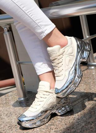 Adidas raf simons rs ozweego cream white silver metallic женск...