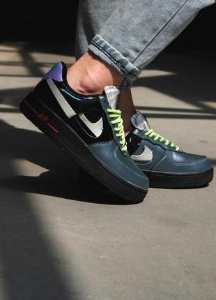 Nike air force 1 vandalized iridescent green black женские кро...