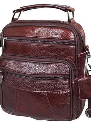 Кожаная сумка мужская через плечо барсетка из кожи коричневая ...
