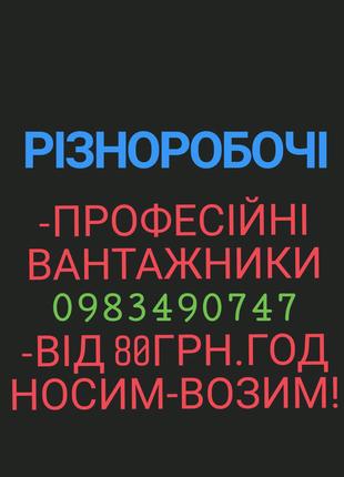 Вантажники Різноробочі Грузчики Вигрузка фур