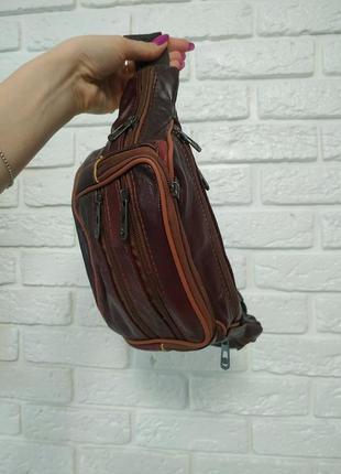 Кожаная бананка, сумка поясная (много отделений)