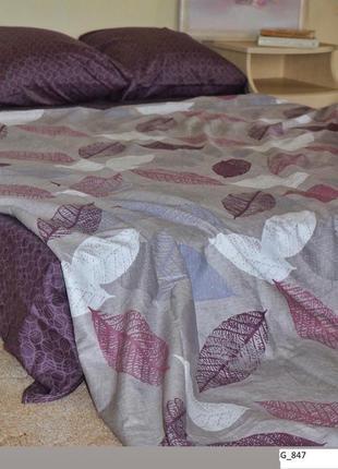"""Двухспальный комплект постельного белья из бязи голд""""листья"""""""