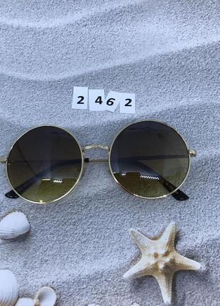 Круглые коричневые очки в золотой оправе  к. 2462