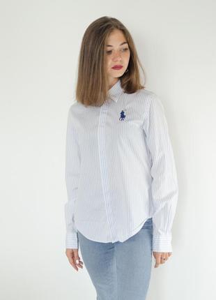 Ralph lauren хлопковая светлая рубашка в голубую полоску, поло...