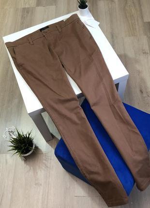 Хлопковые мужские брюки чинос, штаны с карманами коричневые