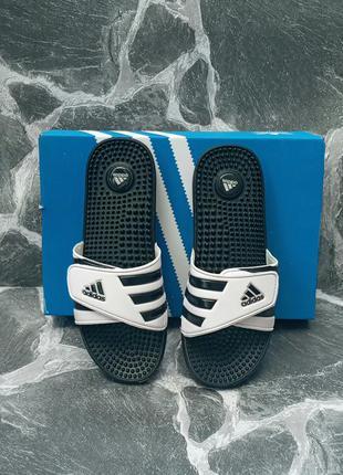 Мужские шлепки adidas classic липучка,белые,шлепанцы