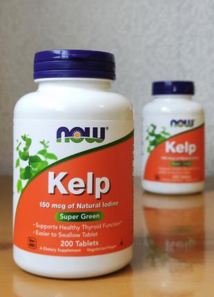 Kelp, келп, источник йода, 150 мг, Now Foods, 200 таблеток
