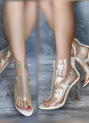 39р новые прозрачные силиконовые летние ботинки босоножки