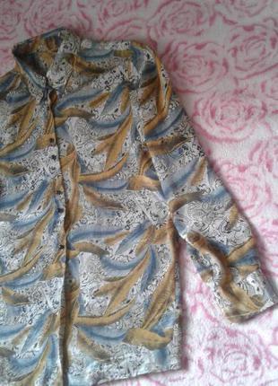 Женская блуза-рубашка в интересный принт под шелк 52-54р