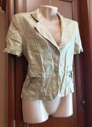 Золотистый летний пиджак блейзер жакет с коротким рукавом с на...