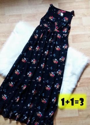 Monsoon платье в пол xs-s длинное макси черное цветочный принт...