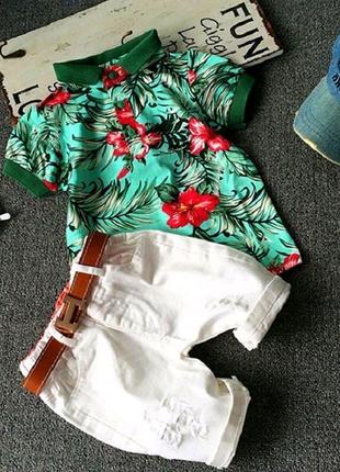 Нарядный летний костюм для мальчика с шортами