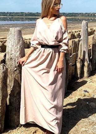 Летнее длинное платье лён