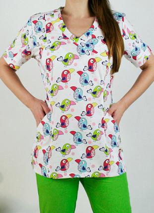 Костюм медицинский с принтом, блуза, 44 размер