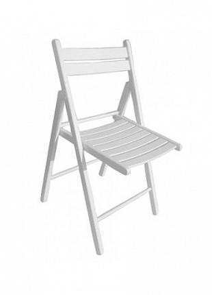 Складной стул из дерева белого цвета в аренду Днепр