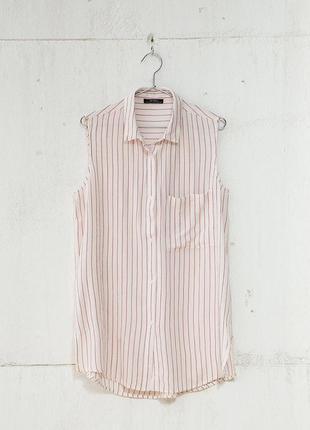 Bershka бело розовая рубашка в полоску
