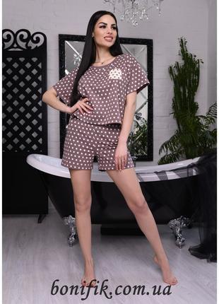 """Коричневая летняя женская пижама """"Agata"""" (16006) арт. 1028"""
