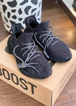 Adidas yeezy boost 350 v2 black мужские стильные кроссовки