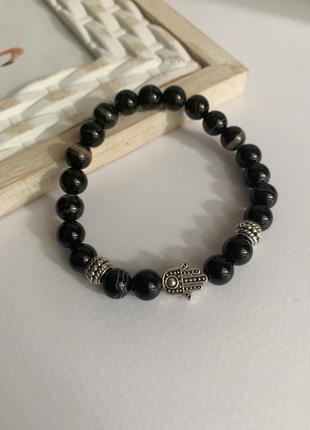 Женский браслет из натурального камня агат с хамсой