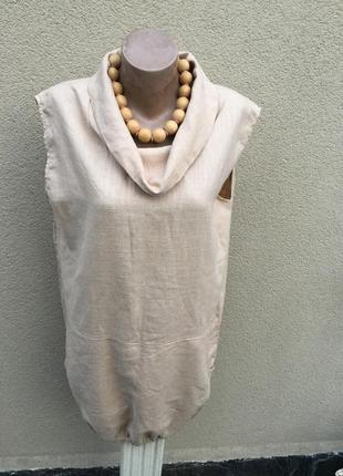 Лен100%,туника,платье,блуза ворот хомут,большой размер,италия