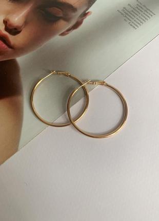 Серьги кольца золотого цвета, медицинское золото
