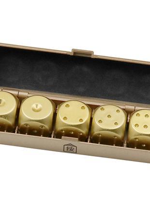 Игральные кости алюминиевые, набор 5 шт. в пластиковом кейсе.