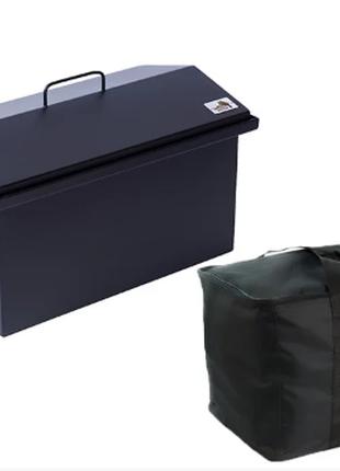 Коптильня для горячего копчения окрашенная с сумкой (520х300х310)