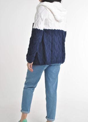 Контрастный цвет вязаного шерстяного кардигана