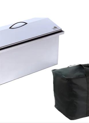 Коптильня горячего копчения из нержавейки (520х300х310) с сумкой