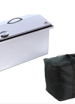 """Коптильня с термометром (520х300х310) крышка """"Домик"""" с сумкой"""
