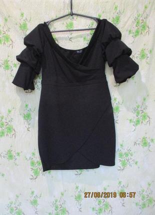 Шикарное платье мини на запах/с вырезом/пышный рукав/батал/uk ...