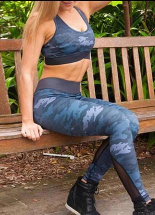 Камуфляжный фитнес костюм, набор для фитнеса, йоги, танцев