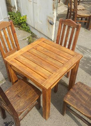 Продам комплект (стол + 4 стула) с натурального дерева