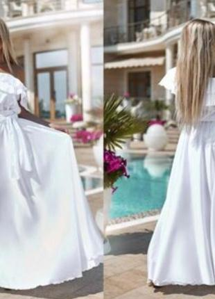728.   вечернее белое платье из шелка