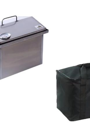Коптильня горячего копчения с термометром и сумкой (400х300х310)