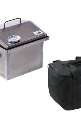 Коптильня горячего копчения с термометром и сумкой 300х300х250