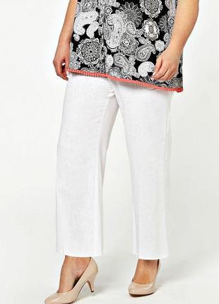 Качественные белые льняные брюки с высокой талией р.22