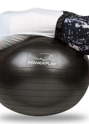 Мяч PowerPlay для фитнеса 4001 65см Черный, насос SKL24-143902